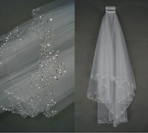 Wedding-Veil-Bridal-Beaded-White-Ivory-2-Layer-Veils-Beaded-Edge-With-Comb