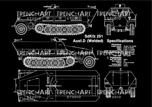 SdKfz german special purpose vehicle Poster Patent Print WWII vintage wehrmacht