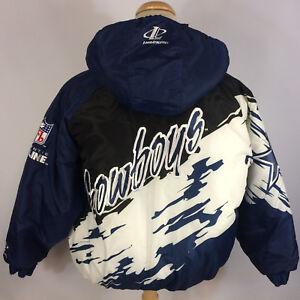 best service af32e 8a576 Details about Vintage 90s PRO LINE NFL Dallas Cowboys Coat Jacket Puff  Puffer XL Splash Script