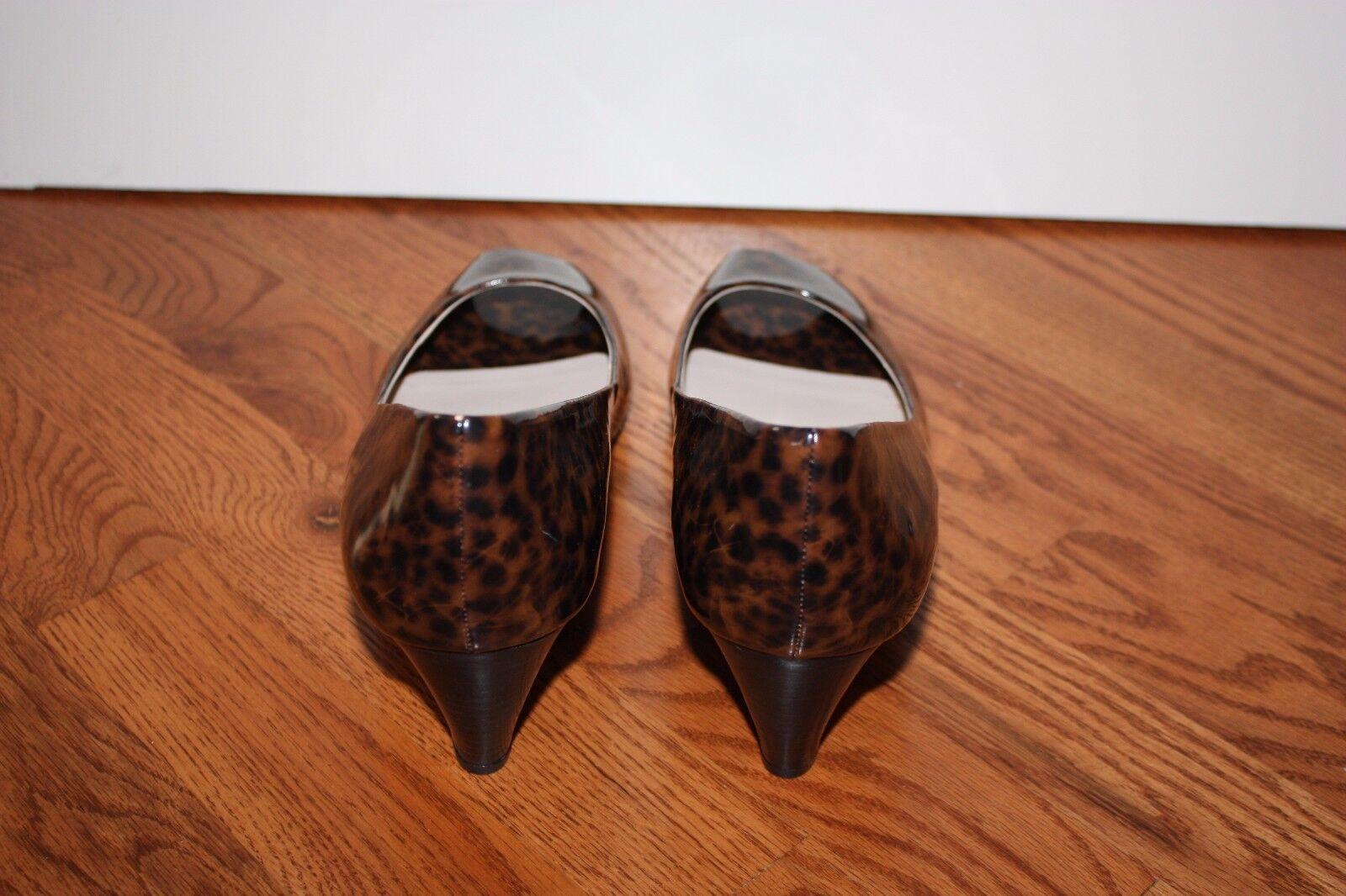 NEW damen Franco Sarto braun Cheetah Patent Leather Open-Toe Wedges Wedges Wedges Größe 11 fc5921