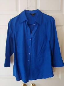 New Style & Co Woman Cobalt Blue Linen Button Down Blouse Top Shirt Size 14W