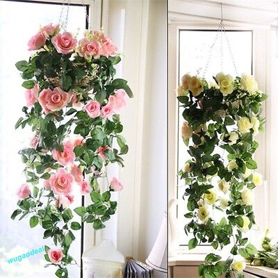Artificial Fake Silk Rose Flower Ivy Vine Hanging Garland Wedding Decor
