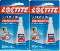 2 Loctite 5g Super Glue Longneck Precision Tip Multi Purp No Drip Clear Adhesive