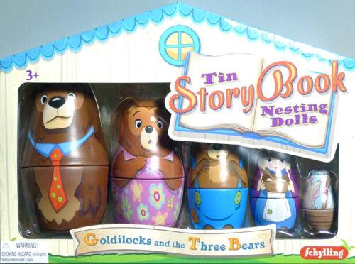 Tin Story Book Nesting Dolls Goldilocks and the Three Bears 34103