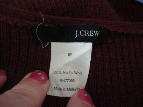 merino talla jersey v en acanalado cuello J Crew en M punto lana 100 de con borgoña Hwzcvpqca