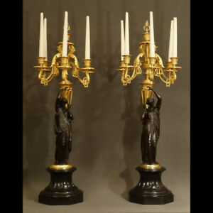 PAIRE-D-039-IMPORTANTS-CANDELABRES-MILIEU-XIXeme-PAIR-OF-GRAND-CANDELABRA-XIXth