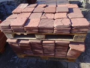 Terrassenplatten Sandstein Rot 20x20 Spalrauh Getrommelt
