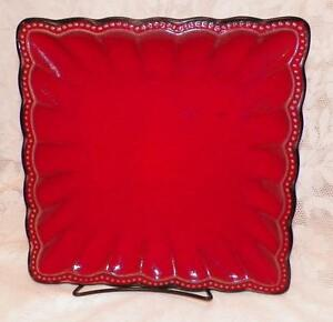 Image is loading ROSCHER-&-Co-RED-HOBNAIL-Square-Dinner-Plate- & ROSCHER \u0026 Co. RED HOBNAIL Square Dinner Plate Platter Stoneware ...