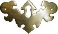 Polished Brass Chippendale Style Batwing Keyhole Cover Vintage Antique Restore