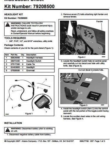 Genuine Ariens Gravely Kit-Faros parte   79208500