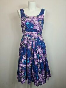 Emily & Fin Fit & Flare Multi-coloured Floral Party Dress Womens Size 10 Pleated