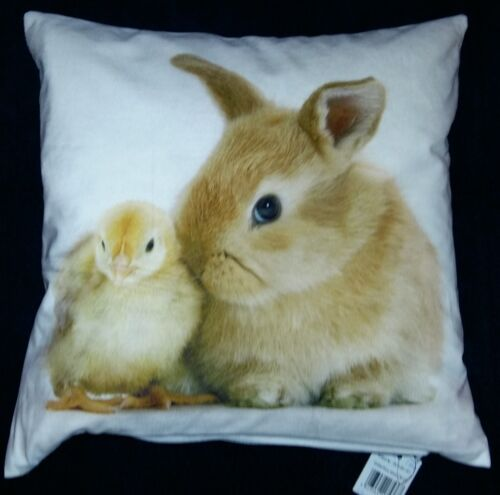 Easter Bunny and greeted Cushion Pillow Case Photo Print 40 x 40 CM White Soft