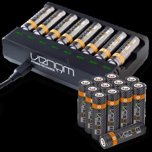 Rechargeable Aaa Aa Batteries And 8 Way Charging Dock Venom Power Ebay