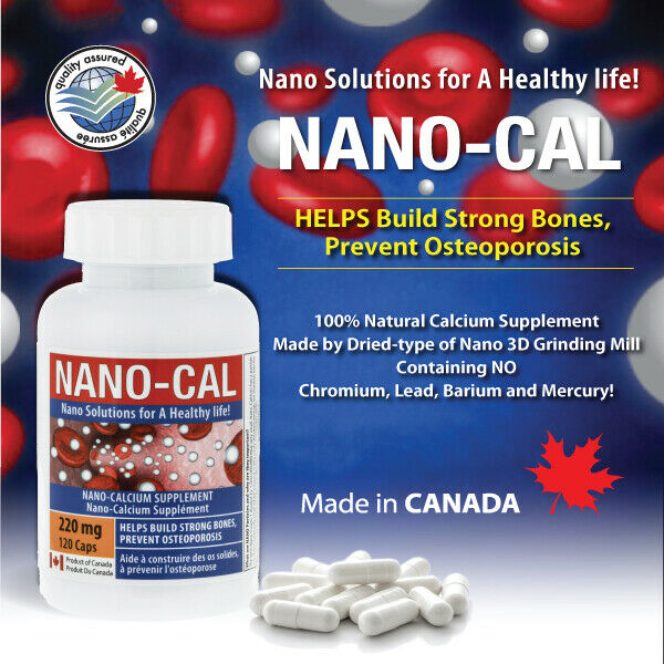 NANO-CAL Calcium Supplement  220mg 120 capsules - 1 bottle