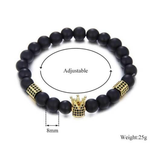 Mens Skull Volcanics Stone Beed Bracelet Wristband Punk Gift Bracelets Gemstone