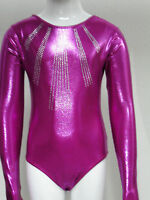 Fuchsia Long Sleeve Gymnastics Leotards For Girls