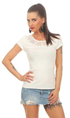 Damen Party Sommer Shirt Kurzarm Oberteil festlich Top Strass 36 38 40 creme