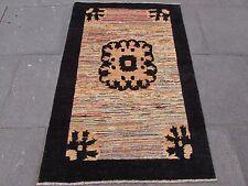 Traditional Hand Made Afghan Gabbeh Wool Black Gold Modern Rug 154x103cm