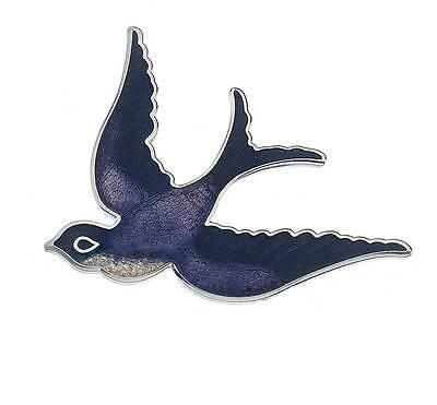 New Silver Tone Purple Enamel Swallow Swift Bird Brooch in Gift Box