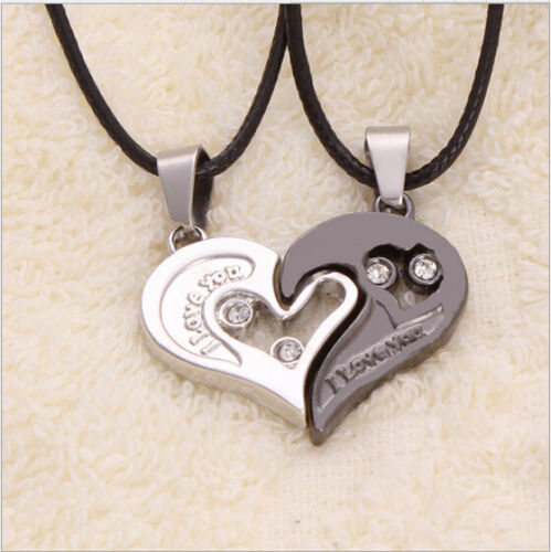His and Hers Stainless Steel I Love You Heart Men Women Couple Pendant Necklace/&