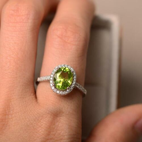 Details about  /2.25 Ct Oval Brilliant Cut Green Peridot Engagement Ring 14K White Gold Over