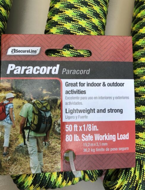 """Paracord Camping Hiking 50 ft x 1//8/"""" 80 lb Working Load by SecureLine"""