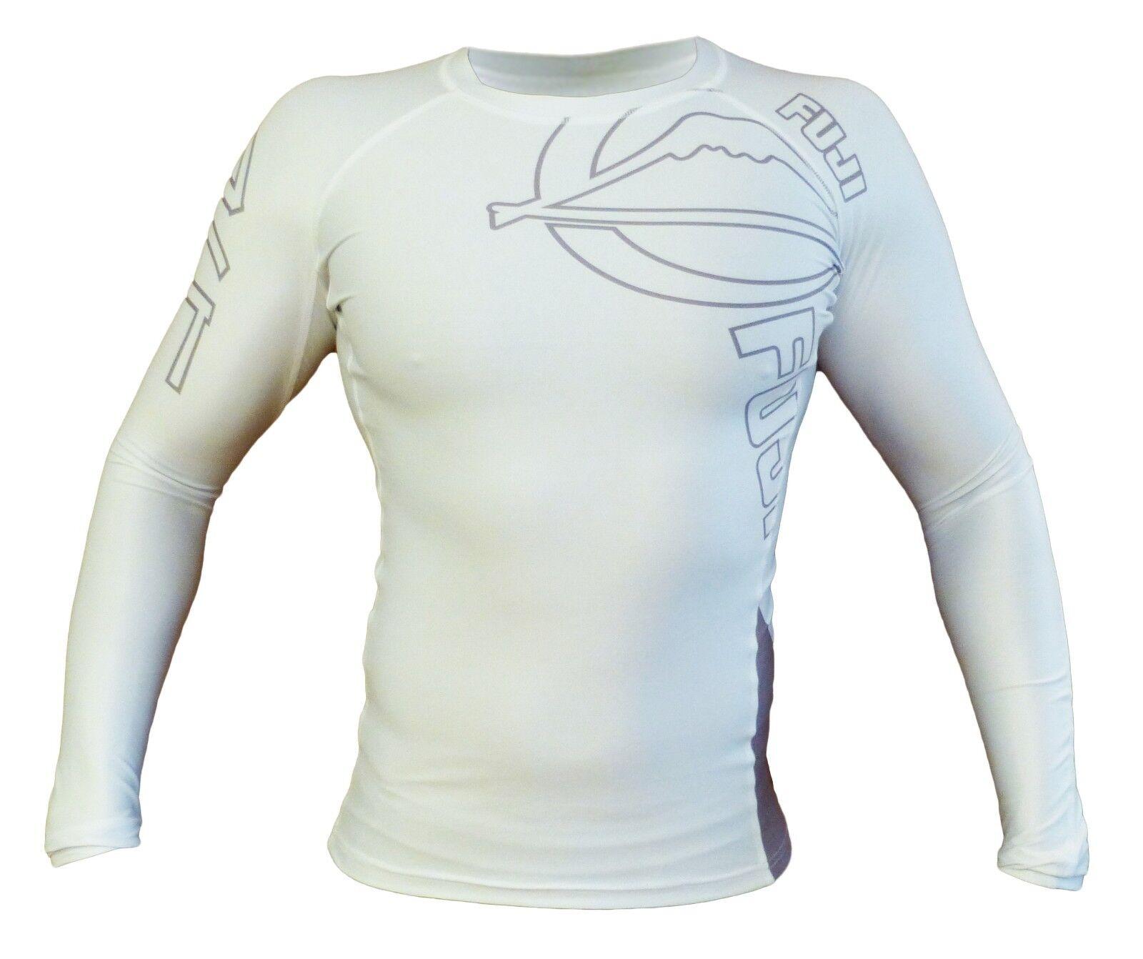 New Fuji Ingreened MMA BJJ Jiu Jitsu LongSleeve Long Sleeve LS Rashguard - White
