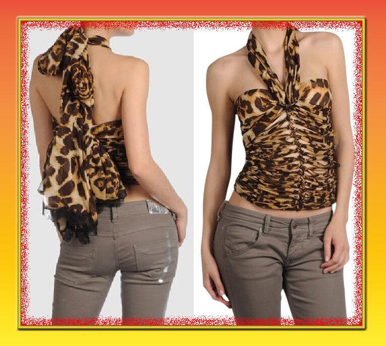 NWT Gianfranco Ferre Silk Leopard Print Silk Lace Top Bustier Halter top sz 8 44