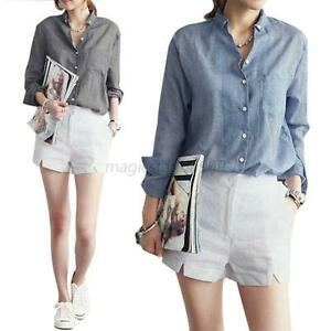 Ladies Soft Slim Long Sleeve Shirts Button Down Shirt