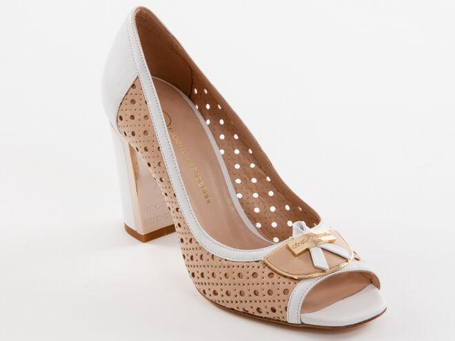 Zapatos De Cuero nuevo blancoo y y y Roberto la serpentina Beige Hecho En Italia Talla 37 EE. UU. 7  suministro de productos de calidad