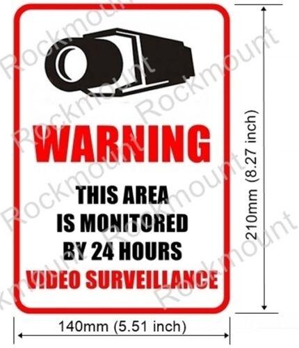 2 Home Security Surveillance vidéo fenêtre porte warning Vinyle Sticker Autocollant Signe