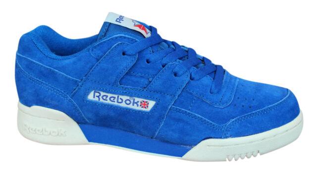 74010358ac0 Reebok Workout Plus Vintage Mens Trainers Lace Up Shoes Blue Leather BD3382  U22