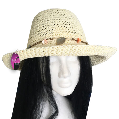 Damen Strohhut Sun Damen Sommer Strand Urlaub Knautschfähig Verpackbar Faltbar