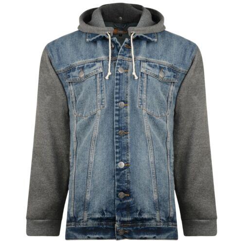 Men's KAM Big Size Hooded Western Classic Denim Jacket Jersey Sleeves XL-8XL