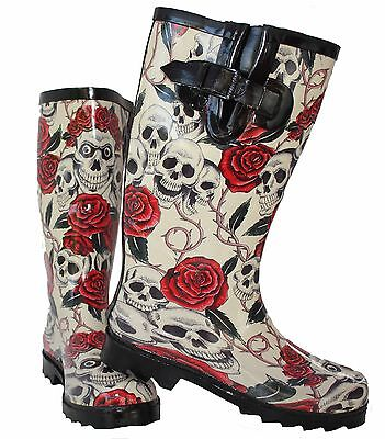Ladies Skull Roses Wellington Wellies Goth Flat Black Red Boots Rain Snow Mud