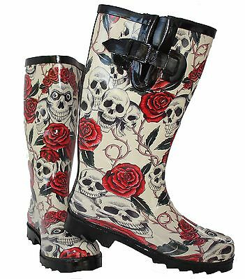 Ladies New Skull Roses Wellington Wellies Goth Flat Black Red Boots Rain Snow