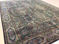 9'.11 X 13'.5 Black Green Modern William Morris Persian Oriental Rug Handmade