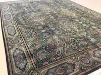9'.11 X 13'.5 Black Green Modern William Morris Persian Oriental Rug Handmade