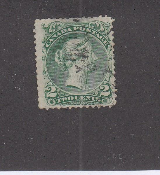 CANADA (MK5955) # 24 FVF-USED  2cts  1868 VICTORIA LARGE QUEEN /GREEN  CV $100