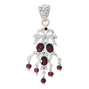 Granat-925-Sterling-Silber-rot-Anhaenger-echte-indische-de-Geschenk