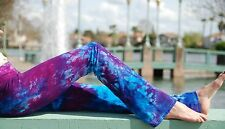 Purple Tie Dye Yoga Pants Cotton/Span Hand Dyed in the US All Sizes XS-6XL