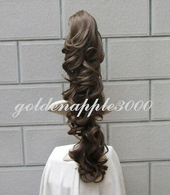 """28""""70cm Long Hair Piece Clip on Ponytail Curly Wavy Brown Cosplay Costume Wig"""