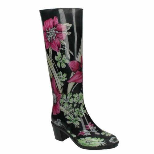 WOMENS WATERPROOF BLOCK HEEL WELLIES RAIN WELLINGTON BOOTS LADIES UK SIZE 3-8