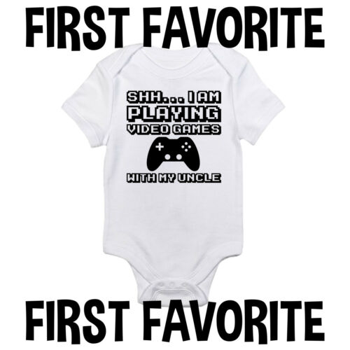 Video Games With Uncle Baby Onesie Shirt Nerdy Shower Gift Newborn Gerber