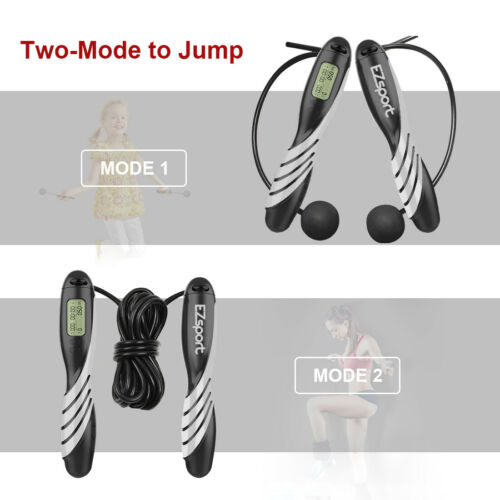 Jump Rope with Counter Adjustable Bearing Weight Calories Time Setting Rope