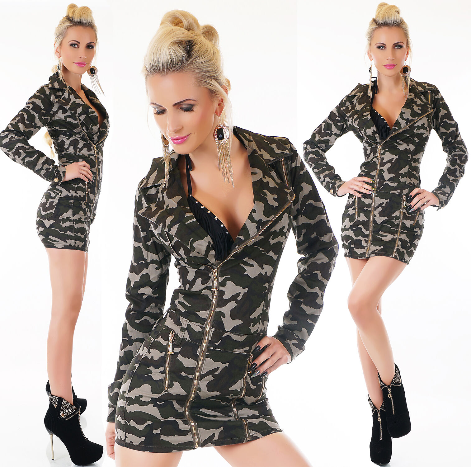 Sexy longsleeves jeans robe camouflage Taille Taille XS, S, M, L, XL