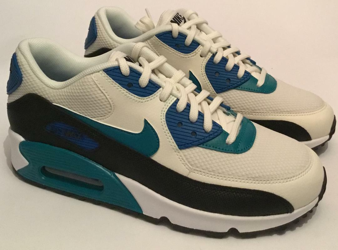 Nike Women's Air Max 90 Trainers - WHITE GREEN BLACK- Sizes From UK 3 TO UK 7