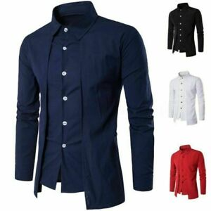 Luxury-Men-Casual-Shirt-Slim-Long-Sleeve-Formal-Business-Dress-Shirt-T-Shirt-Top