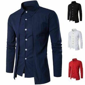 De-Luxe-Hommes-Chemise-Decontractee-Slim-Manches-Longues-Formel-Business-Robe-Chemise-T-Shirt-Top