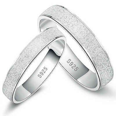 Men Women Couple Ring Frosted Silver Lovers Engagement Band Promise Rings Gift